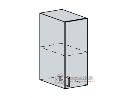 ANASTASIA, horní skříňka 1-dveřová 30H, bílá / bříza