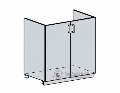 VERONA, dolní skříňka 2-dveřová pod dřez 80DZ, bílá / zlatý jasan