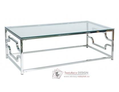 Konferenční stolek VERSACE A 120x60 cm, nerez / čiré sklo