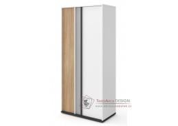 VENIDI 02, šatní skříň 2-dveřová, bílá / světle šedá / grafit / salisbury