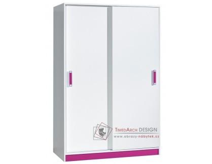 Šatní skříň s posuvnými dveřmi 120cm TRAFICO 14 bílá / růžová