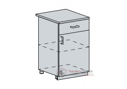 GREECE, dolní skříňka 1-dveřová se zásuvkou 50D1S, bílá / granátový lesk