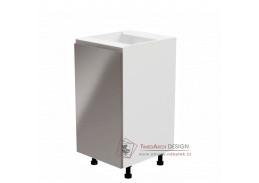 AURORA, dolní kuchyňská skříňka D40 - levá, bílá / šedý lesk