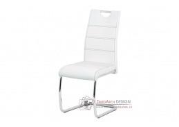 HC-481 WT, jídelní židle, chrom / ekokůže bílá
