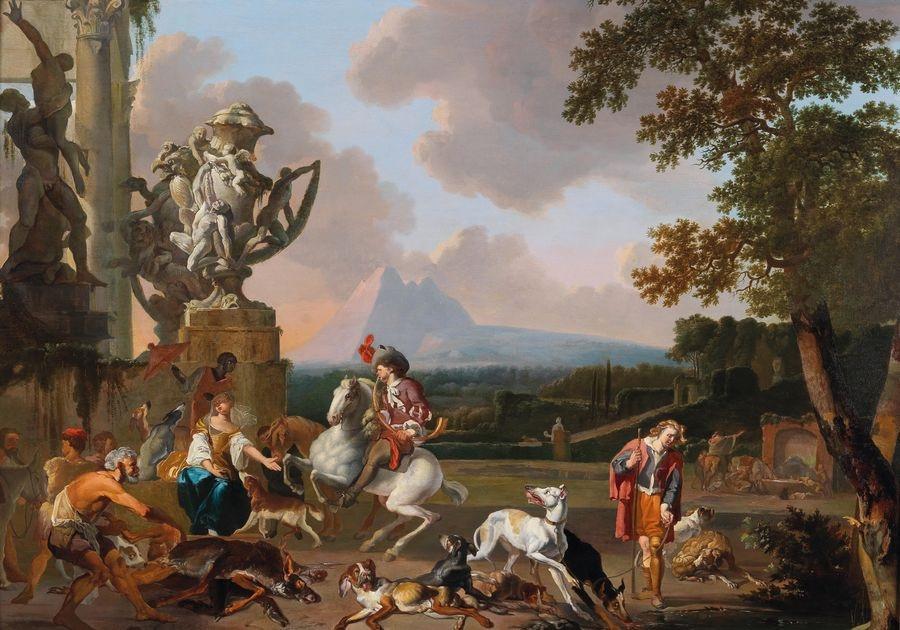 DDSO-1468 Abraham Hondius - Lovci u římských ruin