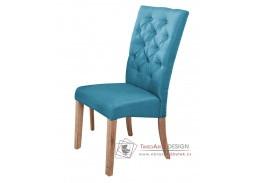 ATHENA, jídelní čalouněná židle, dub natural / látka modrá