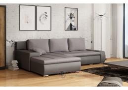 Rohová rozkládací sedačka s úložným prostorem TARO M195/S21 ekokůže šedá / látka šedá