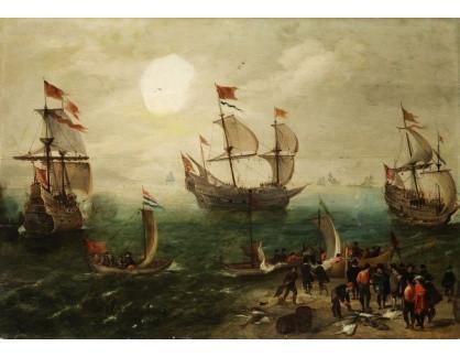 Slavné obrazy XVI-428 Cornelis Verbeeck - Námořnictvo se třemi loděmi