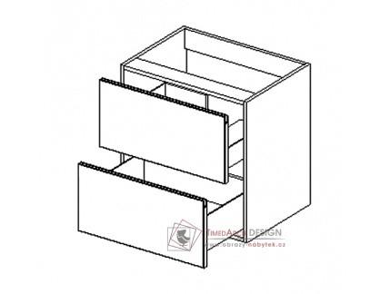 BONITA, dolní skříňka pod umyvadlo DUM60S/2, dub lefkas / nube