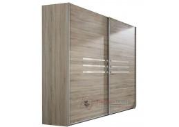 AMÁLIE 864, šatní skříň s posuvnými dveřmi 225cm, dub