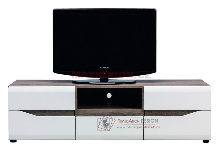 Televizní stolek LIONEL LI 01 dub sonoma truflový / bílý lesk