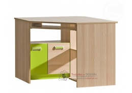 LIMO L11, pracovní stůl rohový, jasan combria / zelená