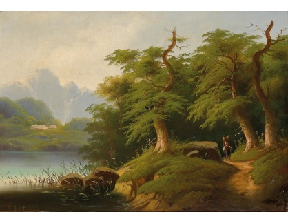 Slavné obrazy XVI-492 Eduard Boehm - Na břehu horského jezera
