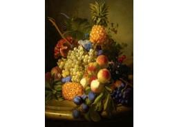 Krásné obrazy II-94 Jan Van Os - Zátiší z vinnými hrozny, broskvemi, švestkami a ananasy na mramorovém stole