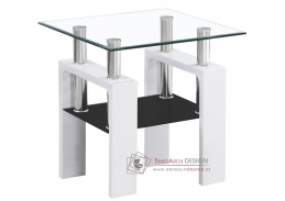 Konferenční stolek LISA D bílý lak / sklo