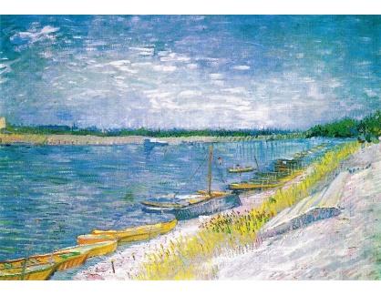 VR2-129 Vincent van Gogh - Říční krajina s veslicemi na břehu