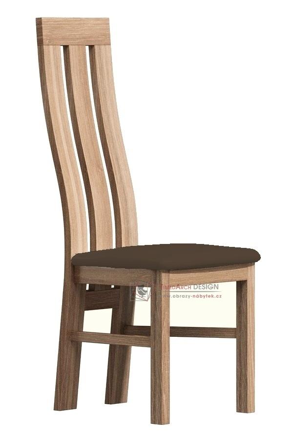 Jídelní čalouněná židle II dub san remo / látka tmavě hnědá