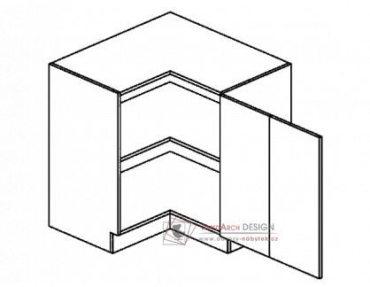 Dolní skříňka rohová 80x80 cm DRPP PREMIUM de LUX olše - pravá