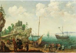 D-9236 Adam Willaerts - Pobřežní krajina s rybáři vykládajícími úlovky