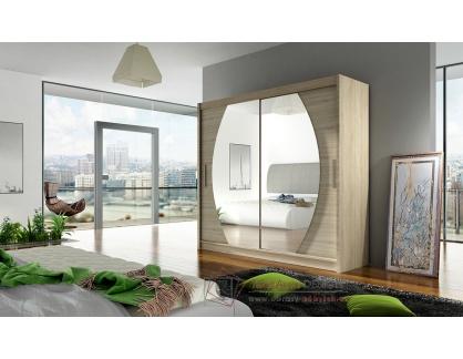 BEGGA IV, šatní skříň s posuvnými dveřmi 180cm, dub sonoma / zrcadla