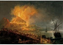 Slavné obrazy VI-123 Pierre Jacques Volaire - Erupce Vesuvu