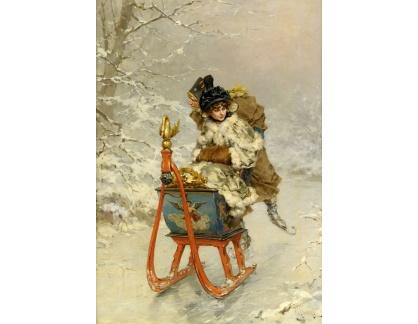 Slavné obrazy XVII-173 Frederik Hendrik Kaemmerer - Na saních