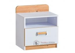 LIMO L12, noční stolek se zásuvkou, bílá / dub nash