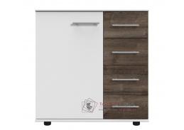 MIRABEL 710, komoda 1-dveřová se 4-mi zásuvkami 1D4S, bílá / dub bahenní