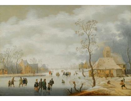 Slavné obrazy XVI-190 Anthonie Verstraelen - Zimní krajina s postavami při bruslení na zamrzlé řece