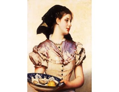 Krásné obrazy II-290 Karl Gussow - Dívka s ustřicemi