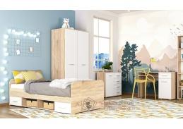 DOMINO II, sestava nábytku pro dětský pokoj, dub sonoma / bílá