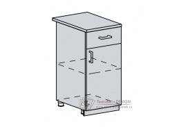 GREECE, dolní skříňka 1-dveřová se zásuvkou 40D1S, bílá / granátový lesk