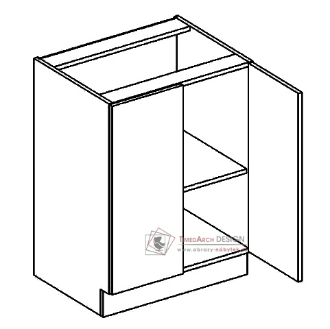 Dolní skříňka dvojdvéřová D60 PREMIUM olše