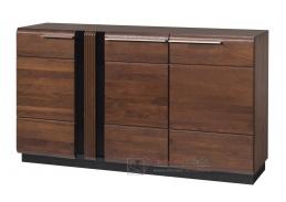 PORTI P-45, komoda 3-dveřová, antický dub / černé sklo