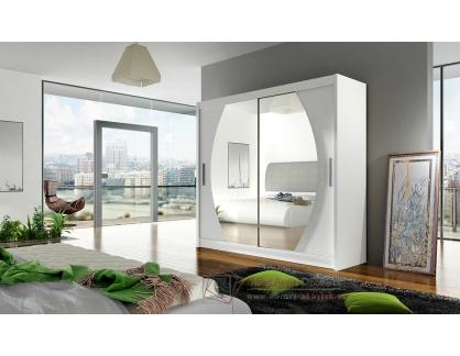 BEGGA IV, šatní skříň s posuvnými dveřmi 180cm, bílá / zrcadla
