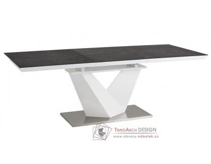 ALARAS II 120, jídelní stůl rozkládací, leštěná ocel / bílá / černé sklo