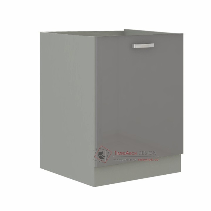 Dolní skříňka PRADO 60 D 1F BB šedá / vysoký lesk šedý