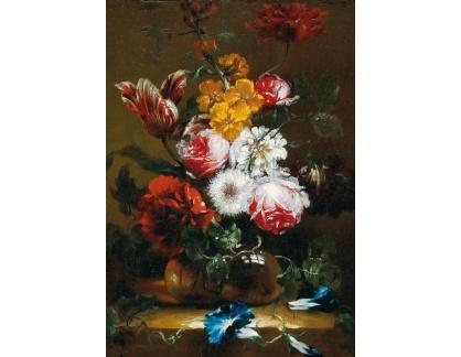 D-6101 Neznámý autor - Růže, tulipány a jiné květiny ve skleněné váze na kamenné římse