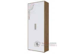 HARVARD, skříň 2-dveřová, dub hickory  /bílá vzor