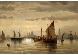 Slavné obrazy XIII-13 Albert Rieger - Plachetnice v Benátkách