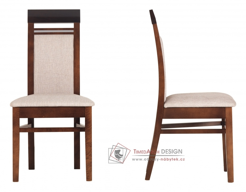 FORREST, jídelní židle FR 13 ořech tmavý / dub miláno / látka béžová