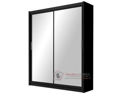 PARIS, šatní skříň s posuvnými dveřmi 160cm, černá / zrcadla