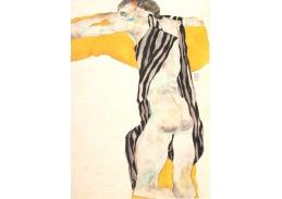 VES 100 Egon Schiele - Ležící nahá žena v pruhované haleně