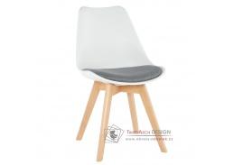 DAMARA, jídelní židle, buk / plast bílý / látka šedá