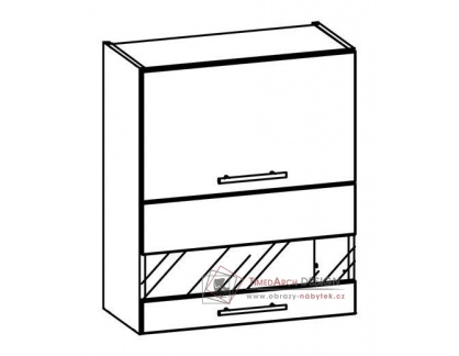 TIFFANY, kuchyňská horní vitrína T9/G60W bílá / bílý lesk