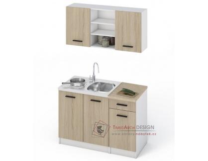 JANA, kuchyně 120cm, bílá / dub sonoma