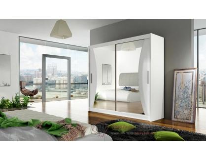 BEGGA V, šatní skříň s posuvnými dveřmi 180cm, bílá / zrcadla