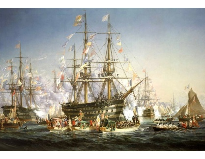 VL187 Jules Noel - Příjezd Napoleona a královny Viktorie na lodi Bretagne do Cherbourgu 5 srpna 1858