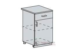 PROVENCE, dolní skříňka 1-dveřová se zásuvkou 50D1S, bílá / vanilka