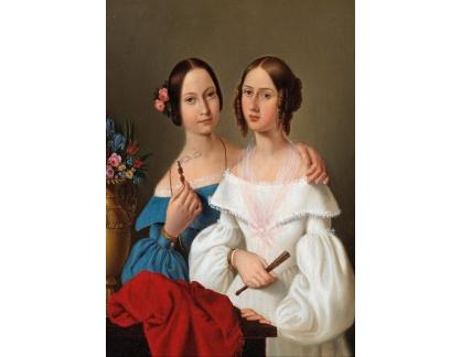 Slavné obrazy I-DDSO-159 Giovanni Schiavoni - Portrét sester Auguste a Caroline von Luschan